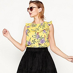 Moves - Gold 'Sammi' short sleeve floral print top