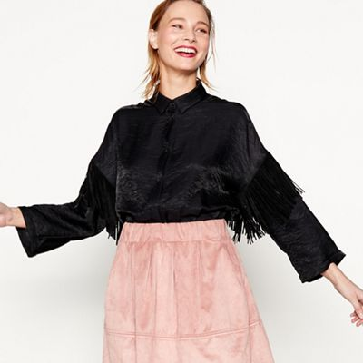 Moves   Black 'nisa' Oversized Fringed Shirt by Moves