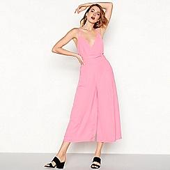 Moves - Pink chiffon 'Giana' V-neck midi jumpsuit