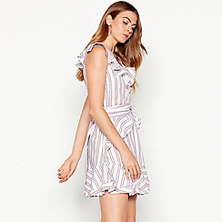 Vero Moda - White stripe print cotton mini dress