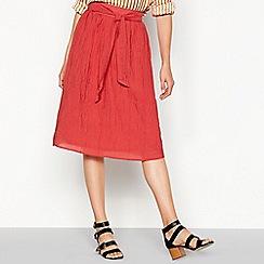 Vero Moda - Rose red crinkle effect red knee length skirt