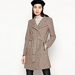 Vero Moda - Taupe Check Print Belted Coat