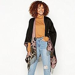 Vero Moda - Black floral woven poncho