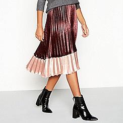 Vero Moda - Plum pleated satin 'Vero' colour block midi skirt