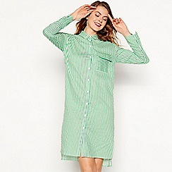 Moves - Green stripe print 'Magali' long sleeve knee length shirt dress