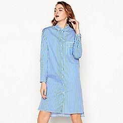 Moves - Aqua blue stripe print 'Magali' long sleeve knee length shirt dress