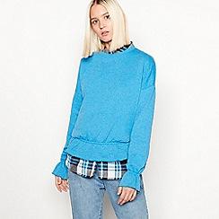 Noisy may - Blue drop shoulder cotton blend jumper