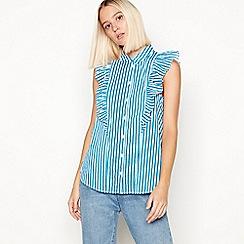 Noisy may - Blue striped ruffle detail sleeveless shirt