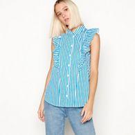 671db67037da7 Noisy may - Blue striped ruffle detail sleeveless shirt