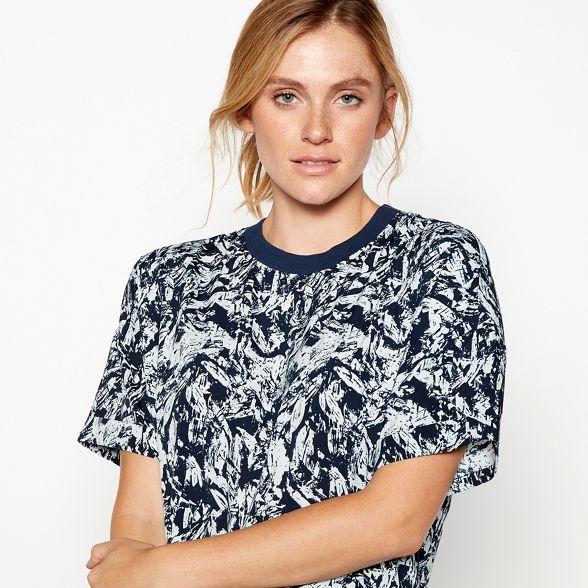 may t chiffon 'Magic' shirt longline Blue print abstract Noisy aWnv6Ov