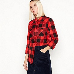 Noisy may - Red check 'Nmerik' long sleeves cotton shirt