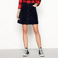 Noisy may - Navy 'Sunny' button up corduroy mini skirt