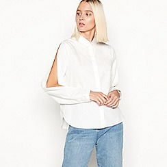 Noisy may - Off white 'Eline' split sleeve cotton shirt