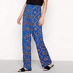 Moves - Bright turquoise boho print 'Vissa' loose fit trousers