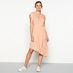 Moves - Rose pink spot print asymmetric 'Alilu' short sleeve wrap dress