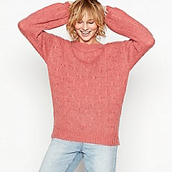 Moves - Pink 'Valora' bobble knit balloon sleeve wool jumper