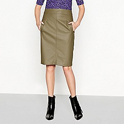 Moves - Olive green 'Osilia' faux leather skirt