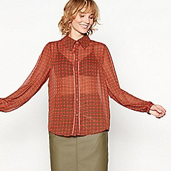 Moves - Red check print chiffon 'Marinna' long sleeve shirt