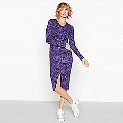 Moves - Purple 'Vevas' leopard print midi dress