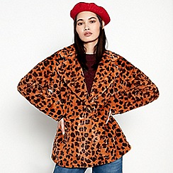 Moves - Yellow Leopard Print 'Aniska' Coat
