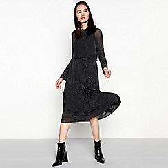 Moves - Black glitter mesh 'Maxima' midi dress