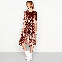 Moves - Dark orange velvet 'Kalah' short sleeve midi dress