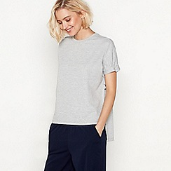 Simple Stories - Pale grey tie side cotton blend 'Sara' short sleeve top