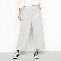 Noisy may - Pale grey 'Sara' high waisted cotton blend sweatpant culottes