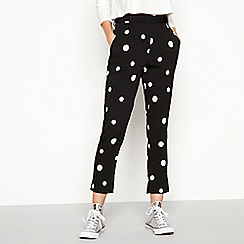 Noisy may - Black polka dot high waisted tailored trousers