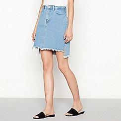 Vila - Blue frayed hem denim mini skirt