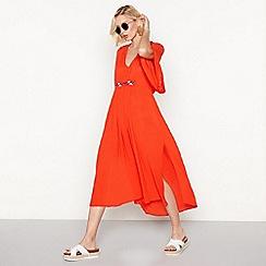 Vila - Orange embroidered 'Adisa' v-neck short sleeve midi dress