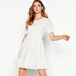 Vila - White embroidered cotton 'Maise' mini dress