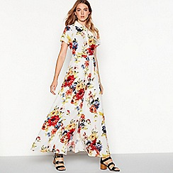 Vila - White floral print 'Rosalina' maxi shirt dress