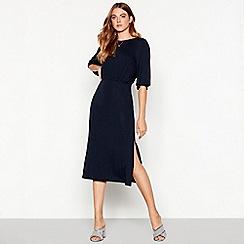 Vila - Navy half length sleeve open back midi dress