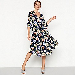Vila - Navy floral print chiffon midi dress