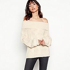 Vila - Natural knitted off-shoulder jumper