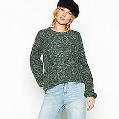 Vila - Dark green cable knit jumper