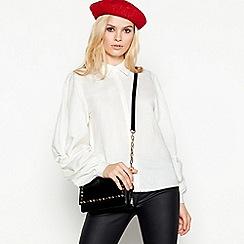 Vila - White 'rose' gathered sleeve cotton blend shirt