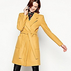 Vila - Mustard double breasted 'Vijolani' belted coat