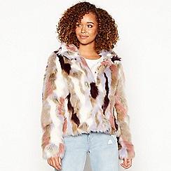 Vila - Multicoloured 'Viveria' faux fur jacket