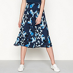 Minimum - Dark blue 'Chloe' floral pleated midi skirt