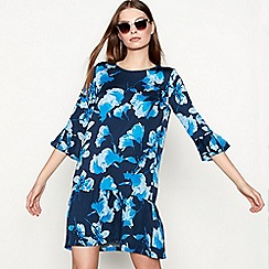 Minimum - Dark blue 'Bitta' floral print round neck 3/4 sleeve mini dress