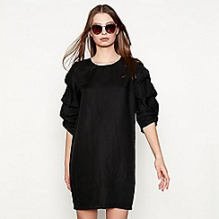 Minimum - Black linen 'Cianne' ruffle sleeve knee length tunic dress