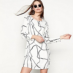 Minimum - White abstract stripe print chiffon 'Kattia' long sleeve knee length tunic dress