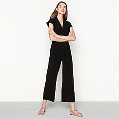 Minimum - Black cap sleeve 'Elvira' wide leg jumpsuit