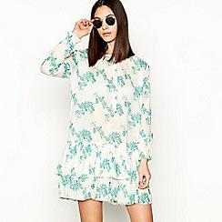 Stella Nova - Natural floral print cotton long sleeve dress