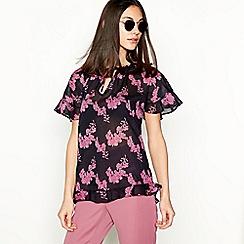 Stella Nova - Black floral print cotton top