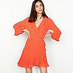 Stella Nova - Orange 'Summer Checks' V-neck mini dress