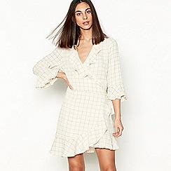 Stella Nova - Off white 'Summer Checks' V-neck mini dress