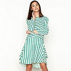 Stella Nova - Green stripe print long sleeve dress